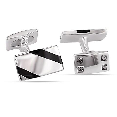 Miadora Sterling Silver Black Onyx and White Crystal Diagonal Striped Rectangular Cufflinks