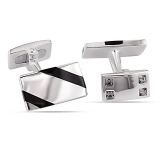 Miadora Sterling Silver Black Onyx and White Crystal Diagonal Striped Rectangular Cufflinks