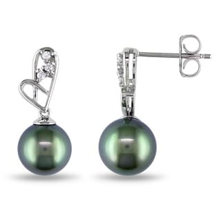 Miadora 14k White Gold Black Tahitian Pearl and Diamond Accent Heart Drop Earrings (G-H, I1-I2)(8-8.5mm)