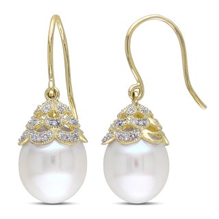 Miadora 14k Yellow Gold Cultured Freshwater Pearl and 1/10ct TDW Diamond Filigree Hook Earrings (10.5-11mm) (G-H, I1-I2)