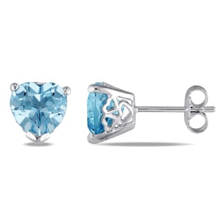 Miadora Sterling Silver Heart-Cut Sky-Blue Topaz and Heart Side Detailing Stud Earrings