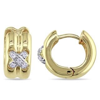 Miadora 14k White Gold 1/10ct TDW Diamond Criss-Cross Hoop Earrings