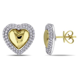 Miadora 2-Tone 14k White and Yellow Gold 1/2ct TDW Diamond Heart-Shaped Halo Stud Earrings