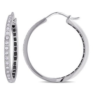 Miadora Sterling Silver and Black Rhodium-Plating 1ct TDW Black and White Diamonds Inside Outside Hoop Earrings (H-I, I2-I3)