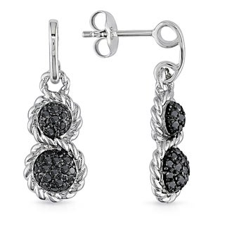 Miadora Sterling Silver 1/2ct TDW Black Diamond Twisted Infinity-Shape Cluster Graduated Dangle Earrings