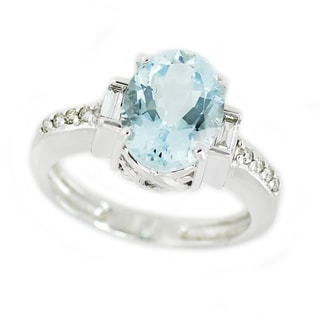 One-of-a-kind Michael Valitutti 14K Oval Aquamarine and Diamond ring
