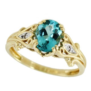 One-of-a-kind Michael Valitutti 10K Oval Apatite and Diamond ring