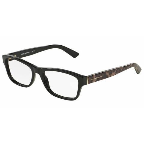 Dolce & Gabbana Womens DG3208 ENCHANTED BEAUTIES 2525 Black Plastic Rectangle Eyeglasses