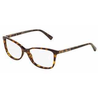 Dolce & Gabbana Womens DG3219 LOGO PLAQUE 502 Havana Plastic Rectangle Eyeglasses