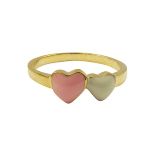 Luxiro Gold Finish Sterling Silver Pink and White Enamel Heart Children's Ring