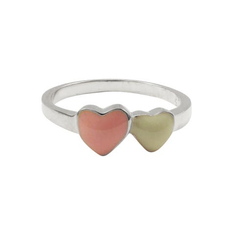 Luxiro Sterling Silver Pink and White Enamel Heart Children's Ring