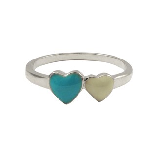 Luxiro Sterling Silver Blue and White Enamel Heart Children's Ring