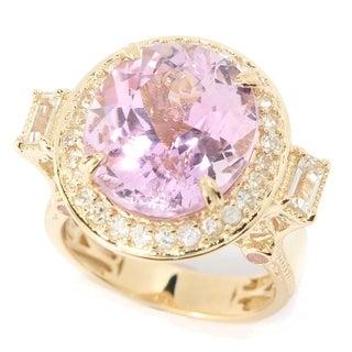 Michael Valitutti 14k Yellow Gold Kunzite, White and Pink Sapphire and White Topaz Halo Ring