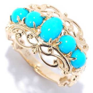 One-of-a-kind Michael Valitutti 14k Yellow Gold Sleeping Beauty Turquoise Filigree Band Ring