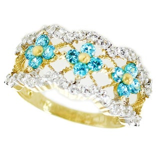 One-of-a-kind Michael Valitutti 14k Blue Cubic Zircnia Scalloped Flower Band Ring
