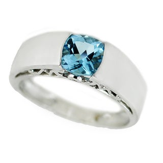 One-of-a-kind Michael Valitutti 10K Swiss Blue Topaz and Diamond Heart Ring