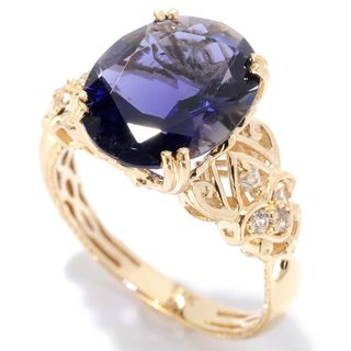 Michael Valitutti 14k Yellow Gold Iolite and White Sapphire Scrollwork Ring