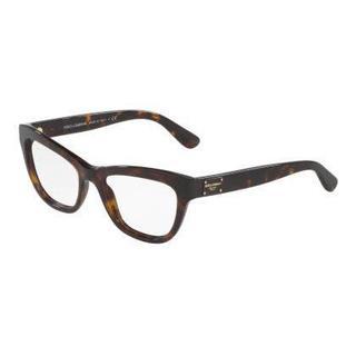 Dolce & Gabbana Womens DG3253 502 Havana Plastic Irregular Eyeglasses