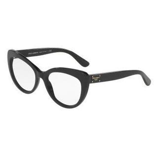 Dolce & Gabbana Womens DG3255 501 Black Plastic Cat Eye Eyeglasses