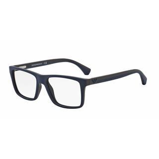 Emporio Armani Mens EA3034 5230 Brown Plastic Square Eyeglasses