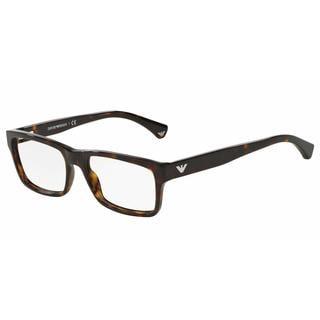 Emporio Armani Mens EA3050F 5026 Havana Plastic Rectangle Eyeglasses