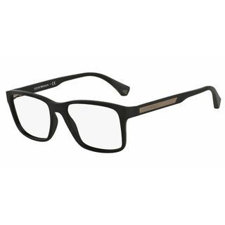 Emporio Armani Mens EA3055 5063 Black Plastic Square Eyeglasses