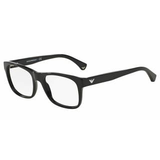 Emporio Armani Mens EA3056F 5017 Black Plastic Square Eyeglasses
