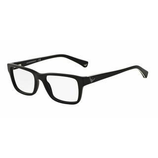 Emporio Armani Mens EA3057 5364 Black Plastic Square Eyeglasses