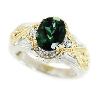 One-of-a-kind Michael Valitutti 14K Emerald Sunstone and Diamond ring