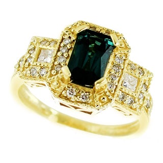 One-of-a-kind Michael Valitutti 18K Sea Green Tourmaline and Diamond ring