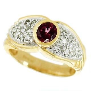 One-of-a-kind Michael Valitutti 14k Rhodolite and Diamond Ring