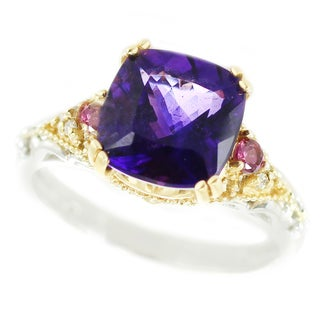 One-of-a-kind Michael Valitutti 14k Uruguay Amethyst, Rhodolite and Diamond Ring