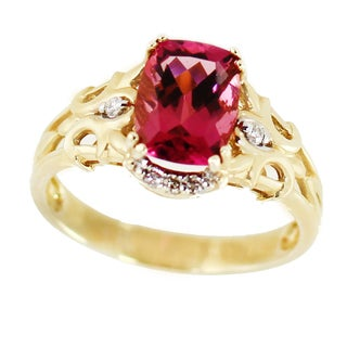 One-of-a-kind Michael Valitutti 14k Yellow Gold Pink Tourmaline and Diamond Ring