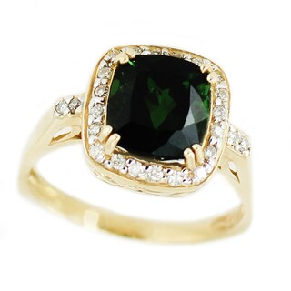 Michael Valitutti 14k Yellow Gold Bahia Green Tourmaline and Diamond Ring