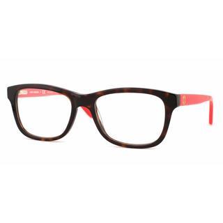 Tory Burch Womens TY2038 1213 Havana Plastic Rectangle Eyeglasses