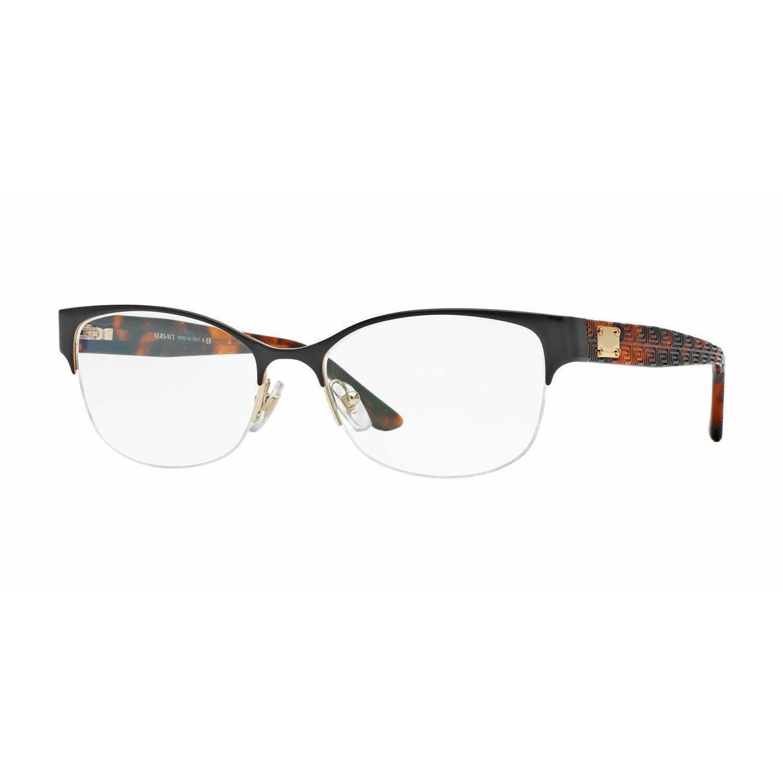 Versace Womens VE1222 1344 Brown Metal Oval Eyeglasses (P...