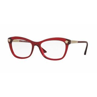 Versace Womens VE3224A 388 Red Plastic Rectangle Eyeglasses