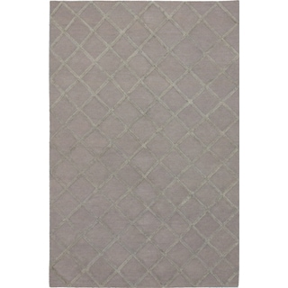 ecarpetgallery Hand-Woven Diamond Chic Grey Wool & Art Silk Kilim (6'0 x 9'0)