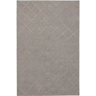 ecarpetgallery Hand-Woven Diamond Chic Grey Wool & Art Silk Kilim (10'0 x 14'2)