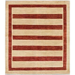 ecarpetgallery Hand-Knotted Peshawar Ziegler Ivory, Orange Wool Rug (6'5 x 7'3)