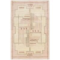 ecarpetgallery Hand-Knotted Peshawar Ziegler Ivory Wool Rug (5'0 x 7'10)