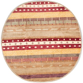 ecarpetgallery Hand-Knotted Peshawar Ziegler Brown, Red Wool Rug (8'2 x 8'2)