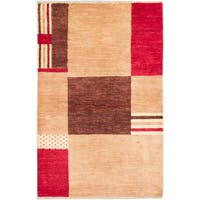 ecarpetgallery Hand-Knotted Peshawar Ziegler Brown, Ivory Wool Rug (4'0 x 6'2)