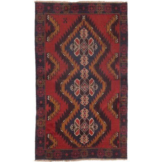 ecarpetgallery Hand-Knotted Baluch Red Wool Rug (3'5 x 5'10)