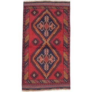 ecarpetgallery Hand-Knotted Kazak Blue, Red Wool Rug (3'4 x 5'8)
