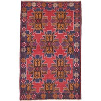 ecarpetgallery Hand-Knotted  Bahor Red  Wool Rug (3'9 x 5'11)