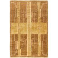 ecarpetgallery Hand-Knotted  Peshawar Ziegler Brown  Wool Rug (4'0 x 6'1)