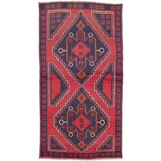 ecarpetgallery Hand-Knotted Kazak Blue, Red Wool Rug (3'5 x 6'5)