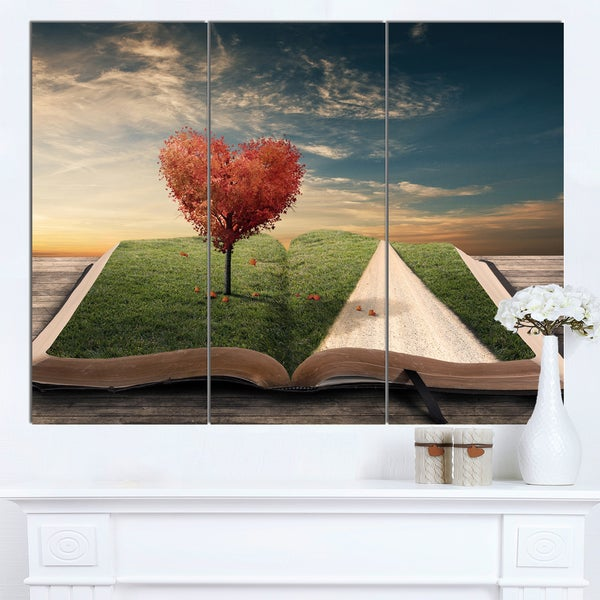 Designart 'Amazing Heart Tree and Book' Large Abstract Canvas Artwork