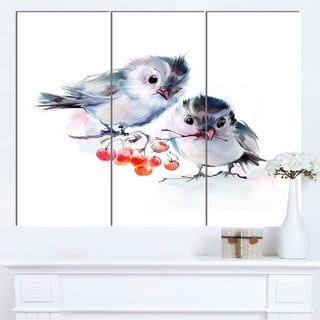 Designart 'Birds on Branch With Red Berries' Modern Animal Canvas Wall Artwork
